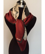 Robert lee Morris scarf square with words gray ivory and burgundy colors... - $19.99