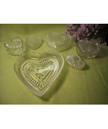 Vintage HEARTS of Crystal & Plastic Trinket Candy Holders Collection Lot... - $22.95