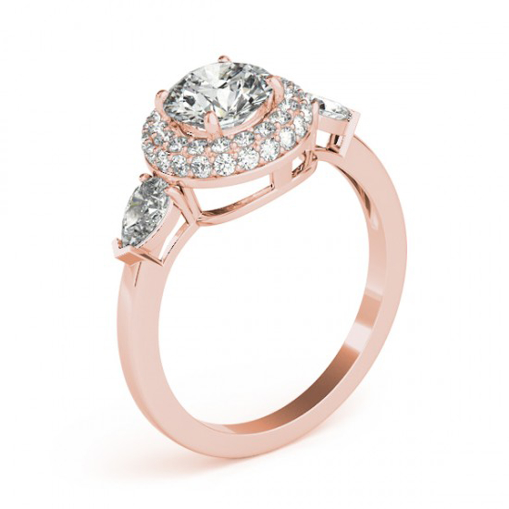Round Cut White CZ 14k Rose Gold Plated 925 Pure Silver Women's Engagement Ring