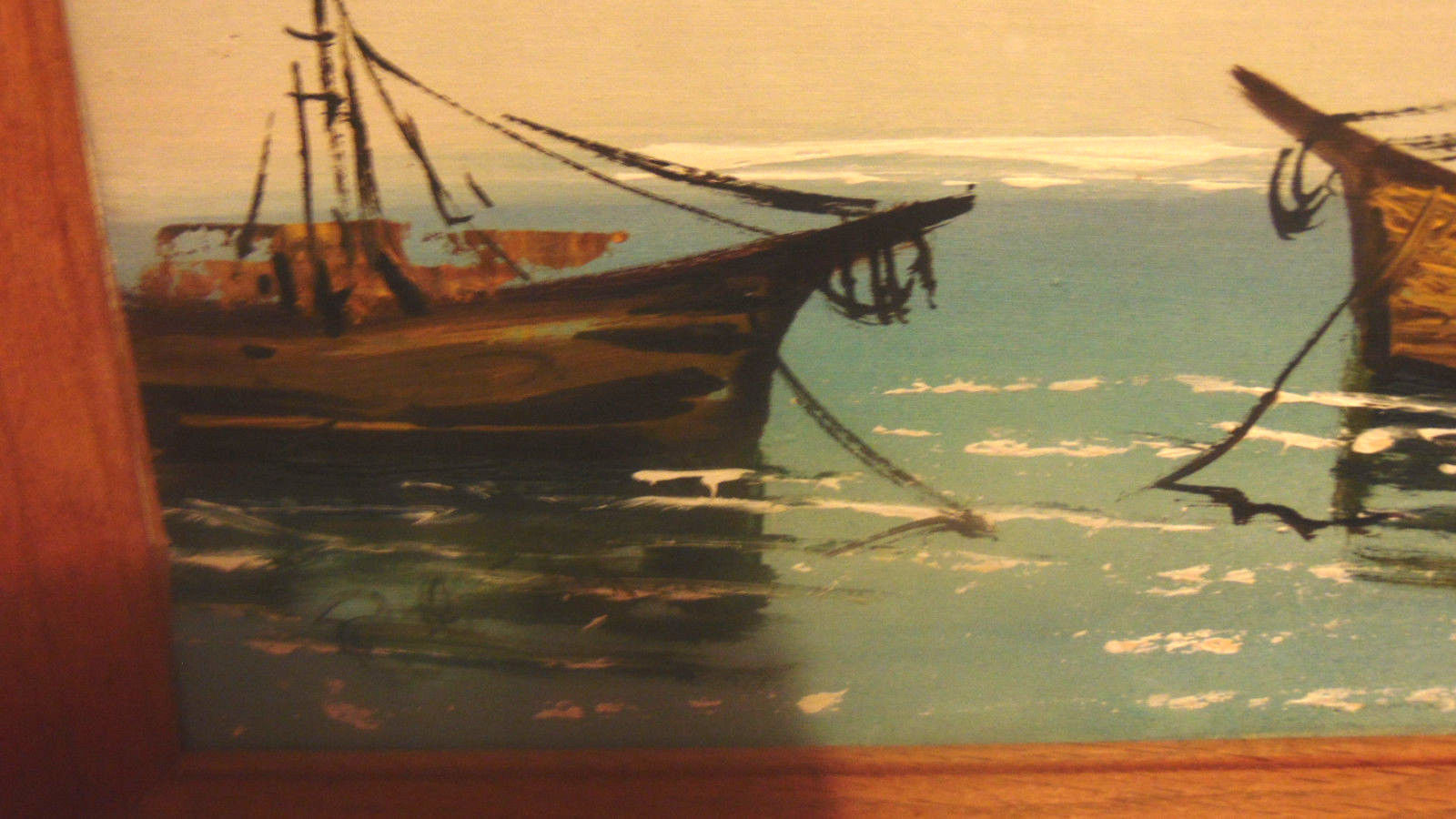 Two Framed Oil Paintings Unknown Artist-Sail Boats-Ships-Signed-No Glass