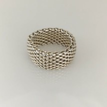 Tiffany & Co Sterling Silver Somerset Mesh Weave Ring Unisex Mens Size 7.5 - $169.99