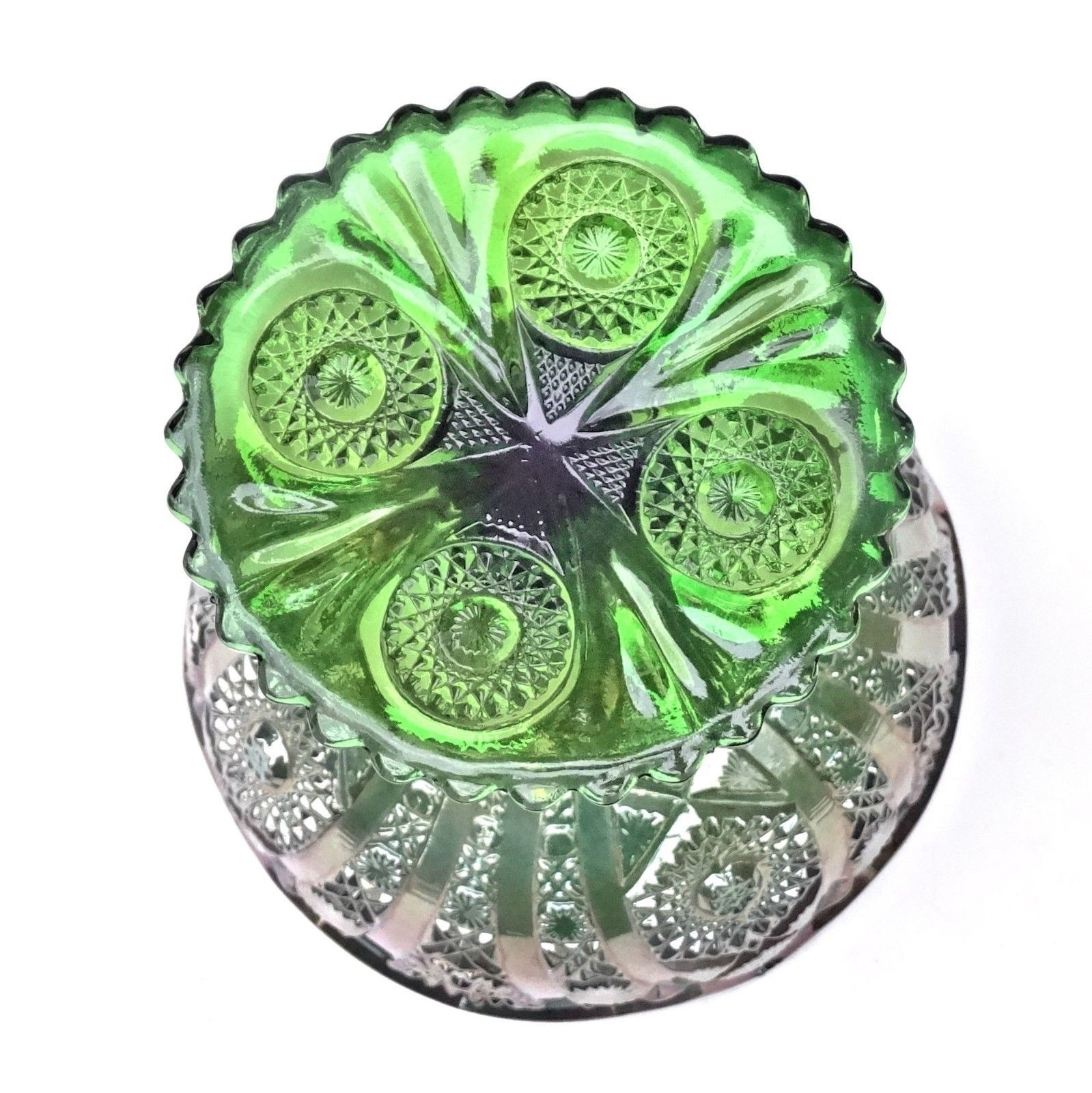 Imperial Carnival Glass Green Octagon Large Compote Comport Candy Chalice Label