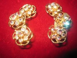 Lavender Aurora Borealis Rhinestone Clip On Earrings Fur Shoe Clips 1.68... - $54.45