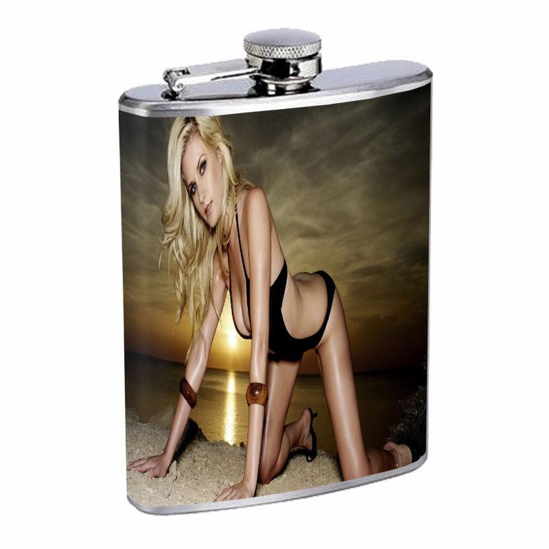 New Jersey Pin Up Girls D8 Flask 8oz Stainless Steel Hip Drinking Whiskey