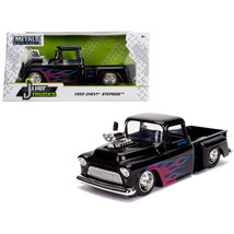 1955 Chevrolet Stepside Pickup Truck with Blower Glossy Black with Flame... - $41.63