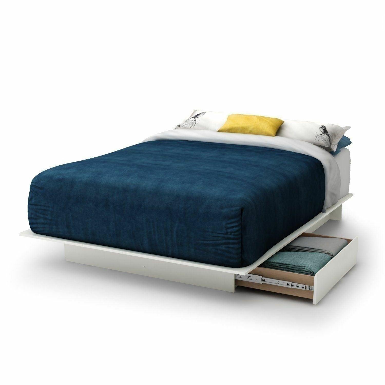 Full Queen King Size White Wooden Platform Bed Frame 2 Under Bed Storage Drawers