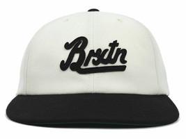 Brixton Houston Script Logo Two Tone Adjustable Snapback Flat Bill Cap Hat - £14.24 GBP