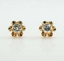 Diamond Earrings Studs 14K Gold Vintage .50 TDW  - $1,150.00