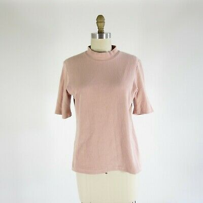 Primary image for M - kowtow Womens Blush Pink Building Block Ribbed Mock Neck Shirt 1026KS