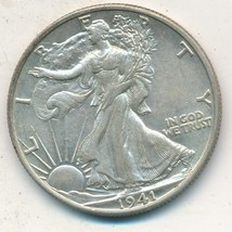 1941-S WALKING LIBERTY SILVER HALF DOLLAR-LIGHTLY CIRCULATED-SHIPS FREE!... - $34.95