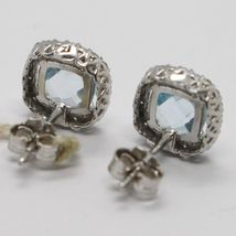 18K WHITE GOLD EARRINGS CUSHION SQUARE BLUE TOPAZ, ZIRCONIA FRAME, MADE IN ITALY image 4