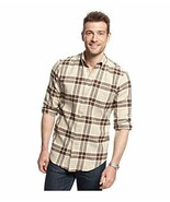 John Ashford Men's Toasted Beige Brown PLaid Flannel Button Front Shirt New - $21.99
