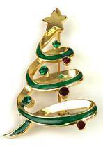 Vtg Signed LIA  Swirl Rhinestone Christmas Tree Metal Enamel Jewelry Bro... - $18.76