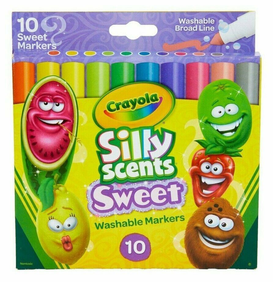 Box of Crayola Silly Scents Sweet Washable Broad Line Markers 10 Count NEW