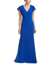 Badgley Mischka Women's Bright Blue Pleated Cap Sleeve Gown