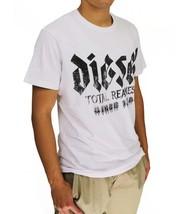 NEW DIESEL MEN'S PREMIUM COTTON GRAPHIC LOGO T-SHIRT T-ADAL TOTAL REALNESS WHITE image 2