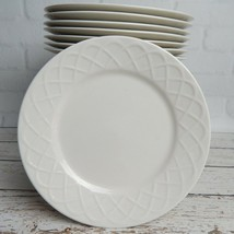 "Set of 8 Oneida Picnic Salad Plates Embossed Basket Weave Design 6"" Retired - $39.99"