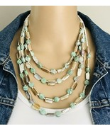 Cookie Lee Abalone MOP White Seed Bead Multi 4 Strand Necklace - €19,36 EUR