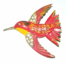 VINTAGE RARE JOSE RODRIGUEZ 1940'S ENAMEL HUMMING BIRD POT METAL BROOCH PIN - $150.00