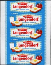Vintage bread wrapper LANGENDORF dated 1954 California and Oregon new ol... - $12.99