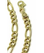 Yellow gold bracelet 18k, jersey, alternating oval figaro 3+1, 5 mm thick - $993.65