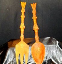 Decorative Wooden Spoon and Fork AA19-1596 Vintage Very Large image 9