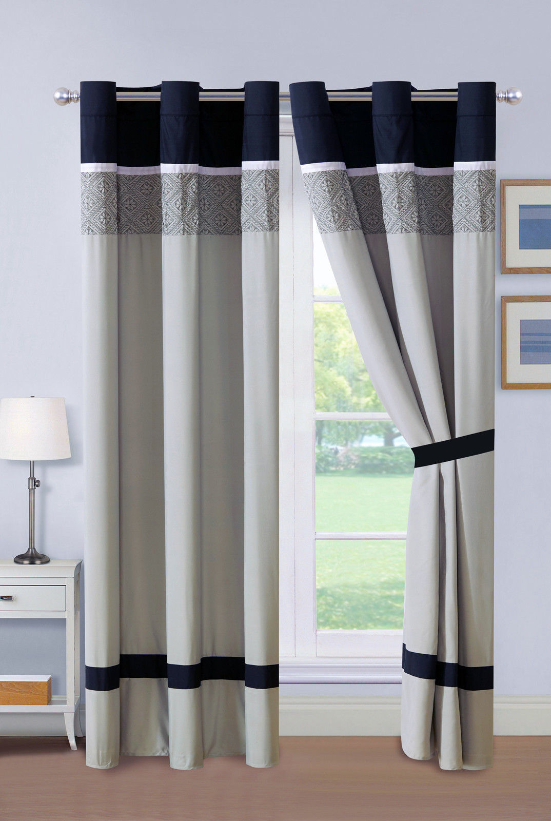 Primary image for 4-Pc Darius Octagram Star Floral Embroidery Curtain Set Black Gray White Sheer