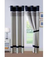 4-Pc Darius Octagram Star Floral Embroidery Curtain Set Black Gray White... - $40.89