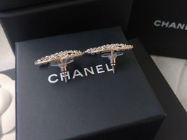 100% AUTH NEW CHANEL 2019 XL Large Gold CC Crystal Stud Earrings image 8