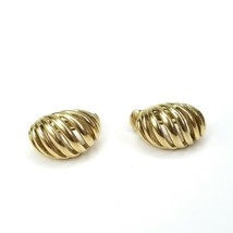 Vintage Crown Trifari Signed Goldtone Open Curved Ribbed Clip On Earrings - $19.39