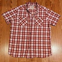 CRAGHOPPERS Mens Hiking Shirt Short Sleeve Red Plaid Size Large Cotton L... - $19.97