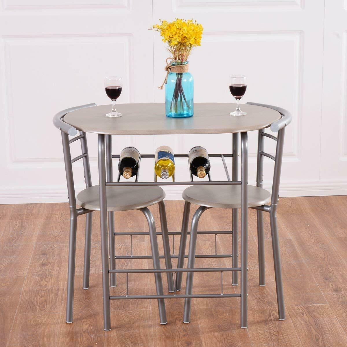 3 Pc Kitchen Table Sets: Silver Natural 3 Pc Dining Table Set Chairs Kitchen Bistro