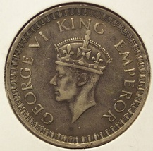 KM#557 1942 One Rupee British India 50% Silver #141 - $9.99