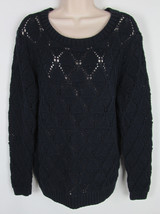 Tommy Hilfiger Crotchet sweater crew neck long sleeve Navy Blue Womens Size XL - $13.81