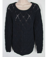 Tommy Hilfiger Crotchet sweater crew neck long sleeve Navy Blue Womens S... - $13.81