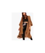 Boohoo Karina Tassel Hem Cape Cardigan Camel One Size NWT $ 40.00 - $19.79