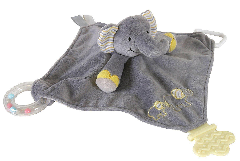 Teething Toy Gray Elephant Chewbie Activity Security Blanket