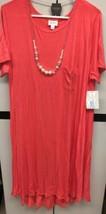 NWT LuLaRoe LLR XL Solid Pink Coral Rayon Blend Carly Swing Dress - $54.45