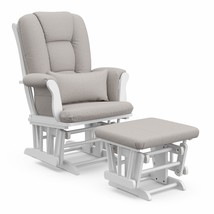 Storkcraft Tuscany Custom Glider and Ottoman with Free Lumbar Pillow, Wh... - $178.99