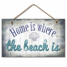 Retro Wooden Sign Wall Plaque HOME is WHERE the BEACH IS Pool Gazebo Hou... - $12.99