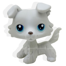 Littlest Pet Grey Collie Dog Puppy Blue Eyes Figure Toy Animal lps 363 - $19.99