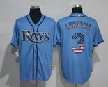 Swen Logo Tampa Bay Rays 3 Evan Longoria Blue USA Flag Fashion Baseball Jersey