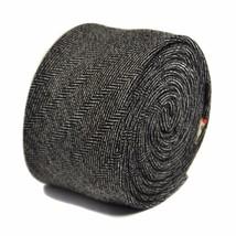 Frederick Thomas Uomo Tweed DI LANA CRAVATTA IN nero e bianco a spina pesce