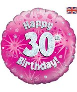 Oaktree 18 Inch Foil Balloon - Happy 30th Birthday Pink Holographic - $6.44