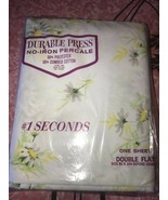 SECONDS ~ NOS Vtg Double Flat Sheet New Floral Yellow White Durable Pres... - $21.03