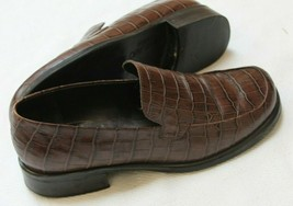 Franco Sarto Bocca Loafers Shoes 8 Crocodile Embossed Brown Leather - $24.75