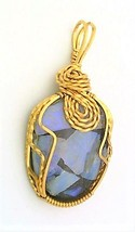 Opal In Resin Brass Wire Wrap Pendant 60 - $27.91