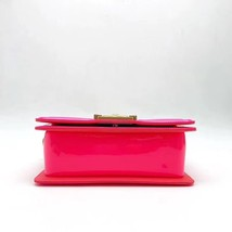 NEW AUTHENTIC CHANEL BRIGHT NEON PINK PATENT LEATHER SMALL BOY FLAP BAG GHW image 5