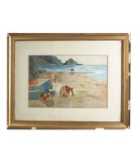 """Untitled Watercolor Woman on Seashore Unknown Artist 18"""" x 23"""" Gorgeous ... - $247.50"""