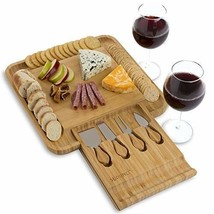 Stylish Bamboo Cheese Board with Cutlery Set, Slide-Out Drawer - Wood vi... - $23.75